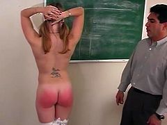 Sexy chick with hot ass was cheating on exam and her viciously teacher caught her. He punished her cute ass by spanked it.