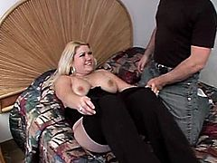 Plump blonde shows her big natural tits to some guy and lets him play with them. Then they fuck in cowgirl position and the dude uses the bitch's breasts as a cum target.