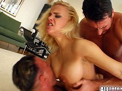 Dirty slut gets two hard fuckin' cocks simultaneously shoved into her ass and pussy in this awesome double penetration scene!