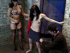 Slim brunette girl gets tied up by her mistress and master. Then Isis Love fixes pumps to Elise's tits. Then the sex slave girl gets her pussy toyed with a vibrator.