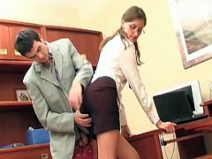 Sweet secretary gets fucked by her boss. She lets him screw her hairy cunt and tight ass too, until he cums and fulfills condom with hot cum.