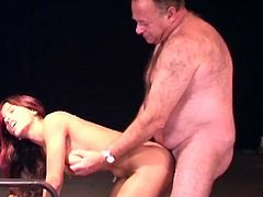 Young beauty gets ravaged by senoior guy in amazingly hot hardcore porn scene