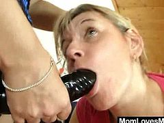 A salacious blonde chick is playing dirty games with her dark-haired GF. They play with each other' snatches and then the blonde gets her coochie pounded with a strapon.