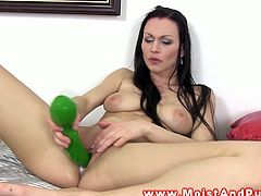 Huge toy for busty brunette's pussy slit in this horny solo. Today, she addresses her naughty pleasures to the extremes. She will make you want to join her and play with her too.