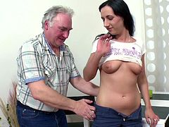 Senior dad enjoys fucking his son's girlfriend and make her moan of pleasure