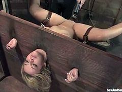 Emma Heart and John Henry are having some good time in a basement. John immobilizes Emma and then destroys her snatch with his prick.