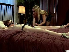 Hot blonde mistress Aiden Starr is having fun with Jessi Palmer and some cute brunette. Aiden binds the girls and humiliates them and then plays with their cunts and rips them apart with a dildo.