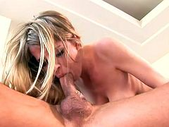 Nasty blonde Anita Blue drives some man crazy with an ardent deepthroat blowjob. Then the man slides his boner into Anita's juicy snatch and fucks it deep from behind.