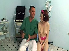 This sexy slim brunette babe came to this horny doctor for her regular check up and full body examination but this horny doc had some other things in his mind.He shoves his big cock in her mouth and in her tight cunt to fuck her hard.She loves it too!
