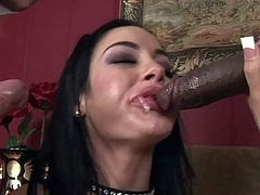 Petite tight ass sexy whore Angelina Valentine with colorful tattoos and awesome gigantic knockers gets pounded form behind by Chris Strokes while giving head to tall black bull Jon Jon.