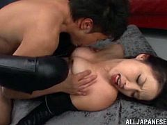 Make sure you take a look at this bondage scene where the hot Asian babe Shiori Kamisak is tortured and pleased by a guy on camera.