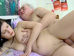 Sexy Alena feels for the first time how two old cock feel like in her shaved twat