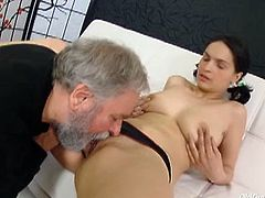 Cute brunette Diana is always ready for some hardcore acton. She starts to deepthroat his meaty cock and begs him to stick it super deep into her horny pussy.