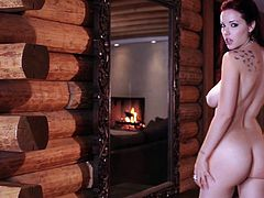 Dazzling beauty is truly amazing during naughty nude solo posing scene