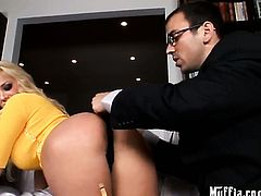 Blonde Shyla Stylez gets her mouth stretched by Voodoos hard love torpedo before backdoor fucking