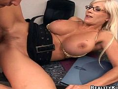 Hot Puma Swede sucks a dick and also licks balls skillfully. Then this lustful MILF gets fucked deep and hard on a table.