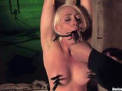 Slutty blonde Lorelei Lee is having fun with some dude in a vault. The man shackles the slut and then attaches weights to her pussy lips and enjoys the way she moans.