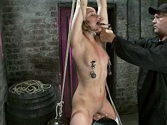 Blonde girl with pigtails sits on a fucking machine getting her pussy drilled. Some guy also fixes claws to her nipples.