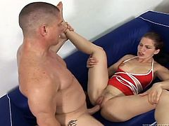 Slim brunette girl in red swimsuit gives a blowjob. After that she takes big dick in her tight pussy. In the end the guy cums on Kira's face.