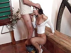 Chritina - Interracial cock sucking