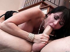 Claire Robbins puts Manuel Ferraras cock in her mouth and sucks repeatedly before backdoor sex