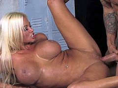 Long haired blonde bombshell Vanessa Cage with red nails and stunning fun bags gives head to slim tattooed Sovereign Syre with meaty pecker and gets pounded good in locker room.