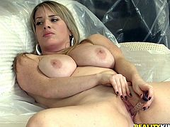 Licking their big tits and moist pussies in 69 position, these plump lesbians get horny for the real thing. Luckily, a guy joins, providing a cock.
