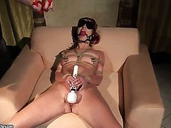 Redhead Angelina Blue drops on her knees to take guys meat stick deep down her throat