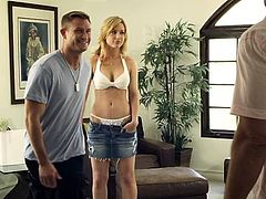 These guys get a lot of pussy in their house. This time is a sweet blonde chick and a naughty brunette. One of the dudes tries his luck with the blonde as the other one already takes off the brunette's short pants. He eats her ass from behind and prepares her for some action!