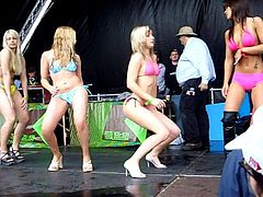 cute teens bikini dance off competition