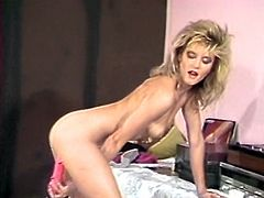 Juicy blonde hottie with tight butt gets totally naked and starts fucking her tight hairy cunt with big dildo. Her drooling pussy looks beautiful!