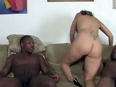 She needs more than her husband can do for her so she brings in two black guys and makes her husband watch as they fuck her.