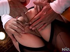 Kinky slut Alexandra Cat sucks multiple cocks and gets fingered in both her cunt hole and her ass hole.