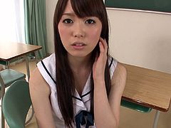 Divine Japanese teen with slender body and black hair Moe Sakura sensually takes off her student uniform at the college room. Asian kitty gives a great view of her tight tits and her crotch in white panties.