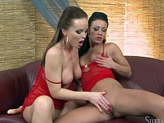 These two hot lesbians use dildos and toys on each others shaved pussies, and enjoy fingering their holes and sucking their natural tits.
