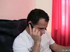 Young dude calls in an old masseuse who rides him