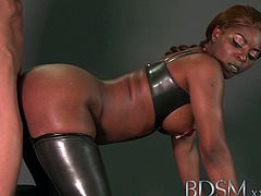 This slutty ebony shows off her big juggs and amazing ass and starts to dominate her poor slave. She makes him to lick her cunt and to fuck her from behind.