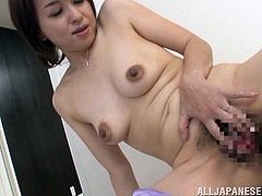 Kumi has a pair of cute titties and some very perky nipples. The mature Nippon slut needs to fuck and the thought of dick makes not only her nipples perky, but her pussy wet too! Luckily for her, this guy shows up and she begins to act like a filthy whore, gaping her snatch in front of him. Will he impale her?