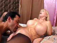 Diane showed off her monstrous cans while sucking cock then she let those big can jiggle as she got her brains banged out.