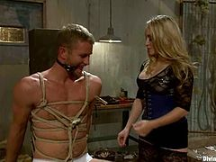 Big tittied Aiden Starr ties up and gags Drake Temple. Then she pinches his nipples and toys the ass. Later on she gives him a handjob and rides a dick passionately.