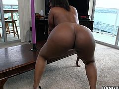 Layla is an ebony beauty with a prefect, round chocolate ass and it demands to be squeezed. She twerks that ass for her man and then it's time to suck on his white cock. She deep throats it so far that she's on the verge of gagging.