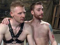 Sebastian Keys and Rob Yaeger are having fun in a shed. The submissive guy allows his master to tie him up and gets his ass fucked like never before from behind.