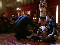 Iona Grace and Sparky Sin Claire are having fun with a mistress indoors. The dominatrix tells the chicks to fuck their cunts with a dildo and they gladly fulfil all her requests.