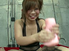 Full bosomed long haired lustful Japanese wench applies soft pussy looking pocket sex toy to completely please her kinky dawg. Take a look at this nice pocket pussy fuck in Jav HD porn clip!