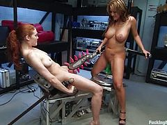 Sabrina Fox and Trina Michaels kiss and caress each other and get horny. Then they slam each other's vags with fucking machines and get multiple orgasms.