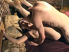 Salacious dark-haired chick moves her legs wide apart and allows some guy to eat her pussy. Then they bang in the reverse cowgirl position and doggy style and seem to enjoy it much.