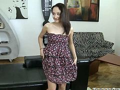 Rocco loves fresh meat. He invites brunette sweety at his place where he seduces her for sex. She takes off her dress showing slim petite body in front of camera. Decent looking girl appears to be crazy cock sucker. She also eats ass.