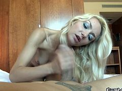 Check out horny blonde slut Victoria Puppy showing off her amazing blowjob skills on his big stiff cock. She strokes it and sucks it for a huge cumshot right into her mouth!