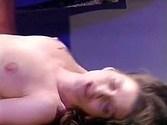 Just look how horny this trollop is. She spreads her sexy legs wide to let her lover control the penetration. He bangs her nice and slow just the way she likes it.