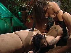 Nakita Kash and Rayne are goth chicks. They have rough and dirty sex. These horny sluts finger and also toy each others pussies with a strapon.